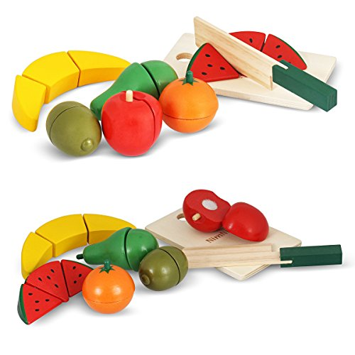 [Food Wooden Toys Cutting Fruit Set Pretend Food Cutting Wooden Play Food Sets For Kids by NimNik] (Group Costumes For 3 Guys)