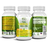 Potent & Organic Omega 3 Supplement w/ Essential Fatty Acids, Vitamin E, DHA & EPA - Vegetarian Algae based & Non GMO Time-Release Capsules - Improve Eye, Heart, & Brain Health - Better than Fish Oil - by Amala Vegan