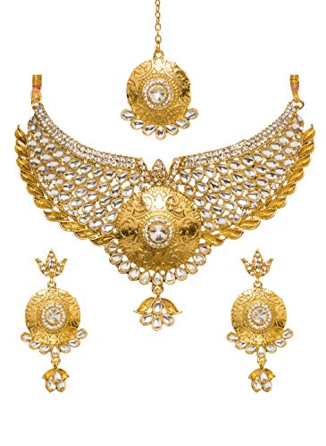 (Bindhani Women's Indian Jewelry Wedding Party Wear Bridal Bridemaids Antique Crafted Gold Tone Choker Kundan Necklace Earrings Tikka Set Designer Bollywood Style Jewellery Tika Set)