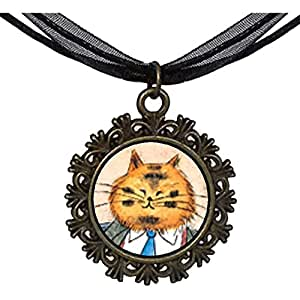 Chicforest Bronze Retro Style Business Cat Round With Flower Lace Pendant