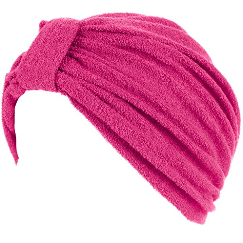 Head Cover For Ladies Womens Swim Bathing Turban   Cap   Great For Women With Cancer Chemo Therapy   Terry With Knote Hot Pink