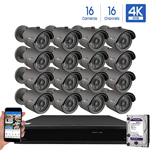 GW Security Cameras System 16CH 3840×2160 HD-TVI 4K CCTV DVR Recorder 4TB HDD with 16 Weatherproof 3840TVL 8.0MP 100ft Night Vision UltraHD 4K Bullet Surveillance Cameras, Email Alert with Snapshot