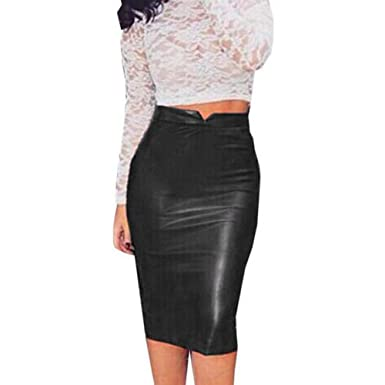 b2d9ea56865b Qisc Faux Leather Pencil Skirt Below Knee Length Skirt Midi Bodycon Skirt  For Womens (Black