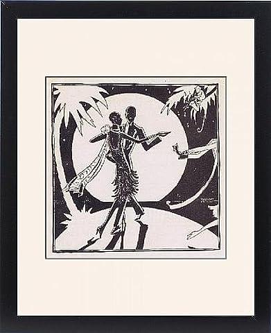 Framed Print of Art deco illustration of couple dancing, 1927 (Art Deco Illustration Couples)