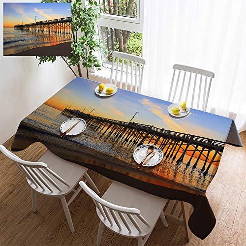 (HOOMORE Simple Color Cotton Linen Tablecloth,Washable, Balboa Pier Orange County California Decorating Restaurant - Kitchen School Coffee Shop Rectangular 108×54in )