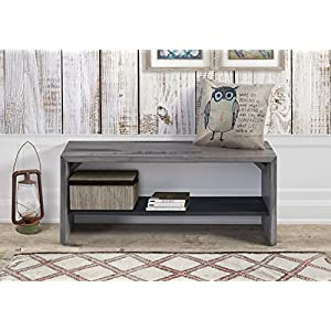 """WE Furniture Reclaimed Wood Entry Bench in Gray - 42"""""""