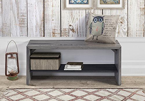 WE Furniture Reclaimed Wood Entry Bench in Gray - (Backless Entryway Benches)