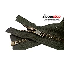 Zipperstop Wholesale YKK®- Jacket Zippers YKK® #5 Antique Brass- Metal Teeth Separating for Crafter's Special Color Black Olive #567 Made in USA -Custom Length (27 inches)