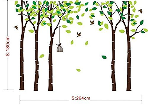Fymural 5 Trees Wall Decals - Forest Mural Paper for Bedroom Kid Baby Nursery Vinyl Removable DIY Decals 103.9x70.9, White+Green by Fymural (Image #4)