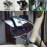 GOODKSSOP Unique Bright LED Chrome Metal Shell Silver Or Black Classical Vintage Retro Cycling Front Light for Bicycle Headlight Retro Bike Fog Head Lamp Night Riding Safety Headlamp with Bracket