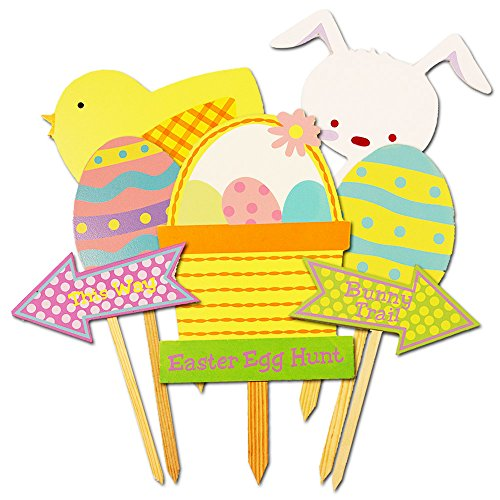 Easter Egg Hunt Decorations Set -- 7 Deluxe Wooden Easter Signs for Yard