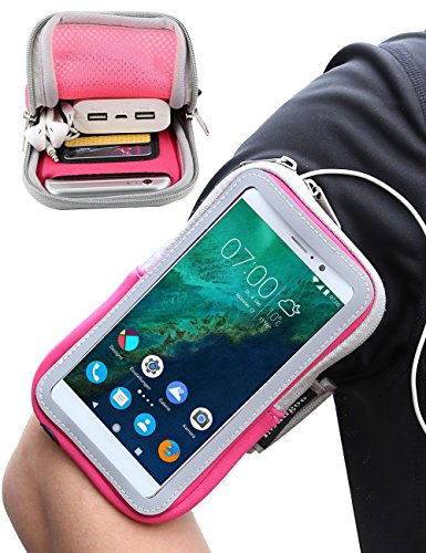 Google Pixel XL Armband, iMangoo OnePlus 2 Armband Sports Pouch Running Pack Armband Gym Wrist Bag Touchscreen Sleeve with Card Slot & Key Holder Wallet Case for Google Pixel XL OnePlus 2 LG G5 Pink