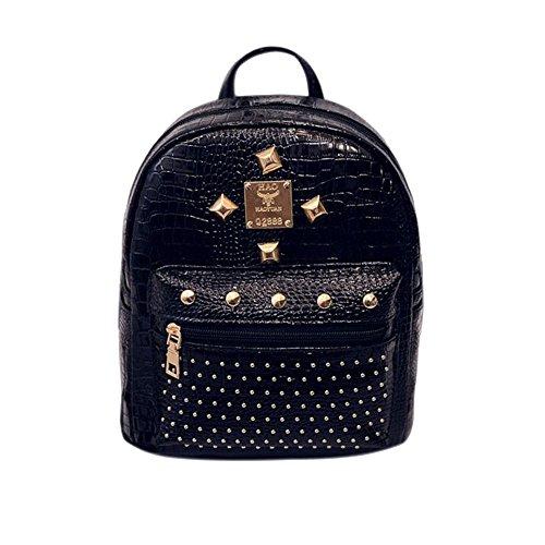 For Backpack Purse Backpack Mini Rivet Cute Backpack Black Leather Mini Women Women Backpack v4wSqq