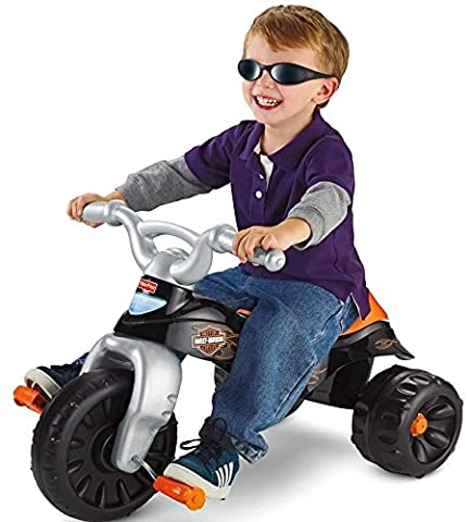 Fisher-Price Harley-Davidson Motorcycles Tough Trike- Children's Tricycle- Wide, Stable Wheel Base- Easy-grip Handlebars- Big Foot - Rc Little Rides Vehicle