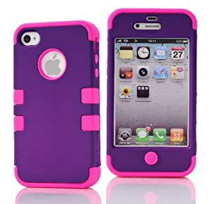 SHHR-HX4G54N Hybrid Cover Case for Apple iPhone4 4s 4G - Grape/Hot Pink