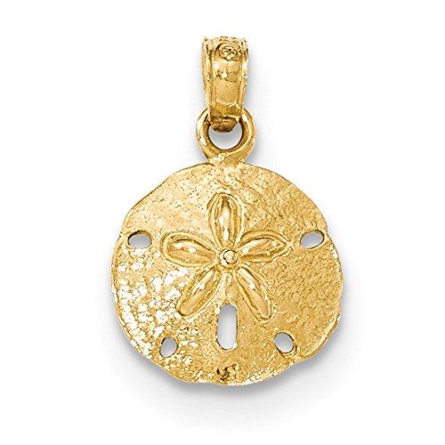(Lex & Lu 14k Yellow Gold Polished Sand Dollar Pendant LAL78483-Prime)