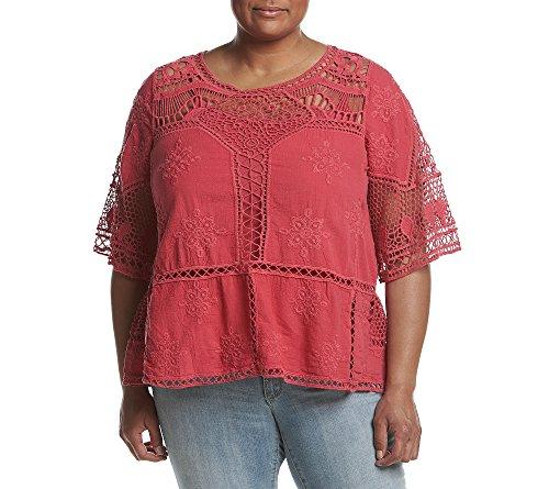 Democracy-Womens-Plus-Size-34-Slv-Crochet-Top-W-Flounce-Hem-Tank