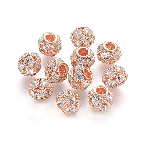 NBEADS 30 Pcs 12mm Rose Gold Grade A Rhinestone Pave Crystal Brass Beads European Charms Rondelle Beads fit Bracelet Jewelry Making ()