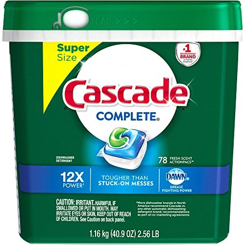 Cascade Complete ActionPacs Fresh Scent Dishwasher Detergent, 78 count (Pack of 5) by Cascade