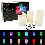 3 led candles - WYZworks LED Ivory Flickering Flameless Candles - Set of 3 [ 4