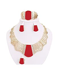 Moochi 18K Gold Plated Red Acrylic Necklace Earrings Ring Bracelet Jewelry Set
