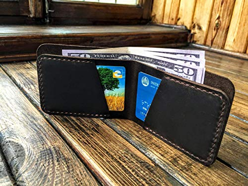 Leather Distressed Bi Fold (Handmade Bifold Wallet - Slim Mens Wallet - Brown Distressed Leather - Front Pocket Wallet - Minimalist Leather Wallet)