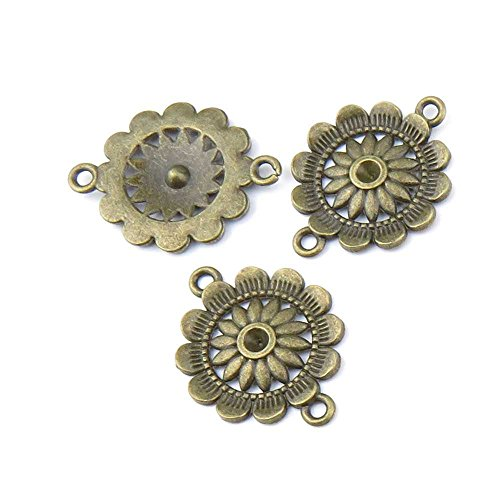 (5 pieces Anti-Brass Fashion Jewelry Making Charms 1088 Sunflower Connector Wholesale Supplies Pendant Craft DIY Vintage Alloys Necklace Bulk Supply Findings)