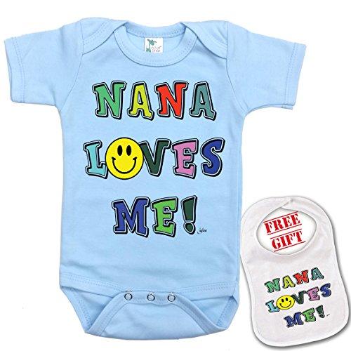 """ Nana Loves Me "" unique Baby bodysuit onesie by Igloo & matching bib"