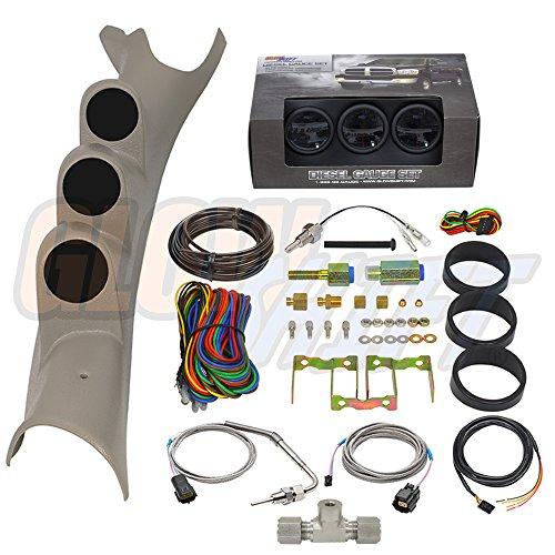 (GlowShift Diesel Gauge Package for 2003-2009 Dodge Ram Cummins 1500 2500 3500 - Tinted 7 Color 60 PSI Boost, 2400 F Pyrometer EGT & Transmission Temp Gauges - Factory Color)
