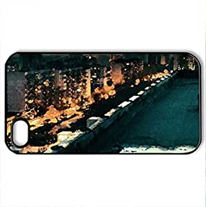 Coming to Life - Case Cover for iPhone 4 and 4s (Skyscrapers Series, Watercolor style, Black)