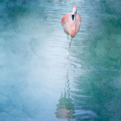 2 Beautiful Pink Flamingos with Blue Green Water Art Print Poster Painting 12x12 Inches