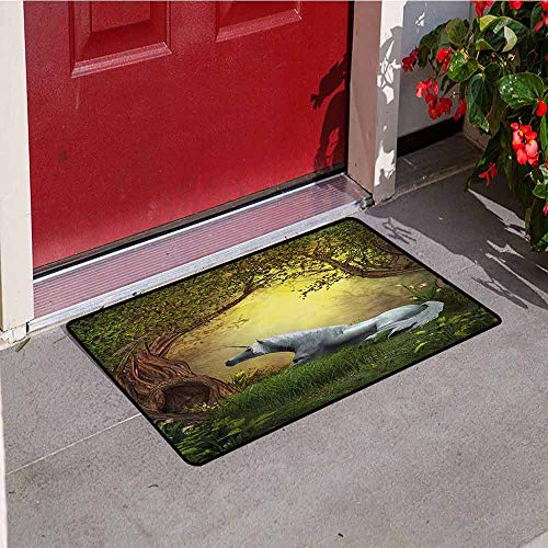 Jinguizi Unicorn Commercial Grade Entrance mat Enchanted Forest Fantasy Magical Willow Trees Wildflowers Woodland Animal Folklore for entrances garages patios W29.5 x L39.4 Inch Green White