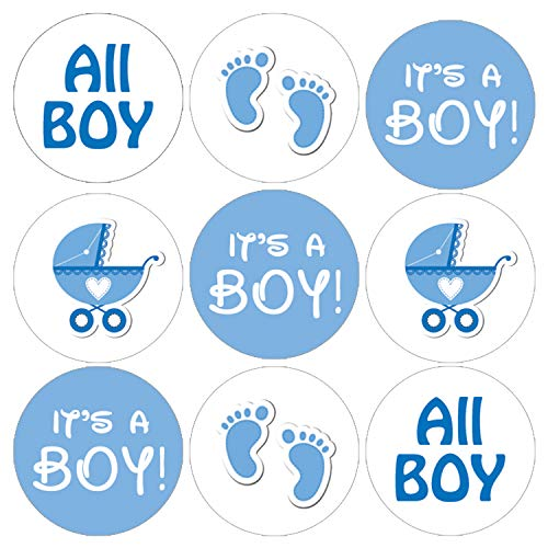 It's a Boy Baby Shower Favor Stickers | Blue Footprint Theme | 180 Count