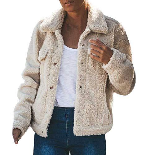 XOWRTE Women's Plush Pocket Coat Keep Warm Fashion Fall Winter Jacket Overcoat Outwear
