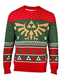 Nintendo Merchandise Legend of Zelda Christmas Jumper Sweater Hyrule Logo New Official Mens Knitted Red