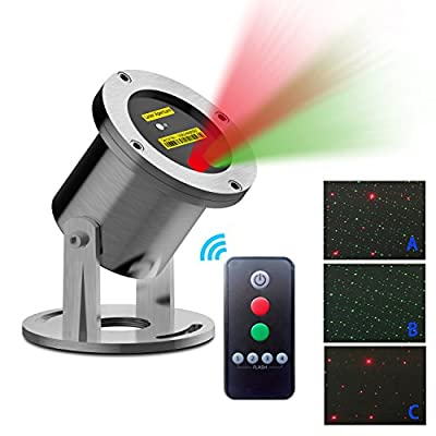Outdoor Laser Light Projector with IR Wireless Remote Red and Green Star Laser Show for Holiday Parties Landscape spotlights and Garden Decoration Aluminum Alloy LED Light Swimming Pools Natatorium