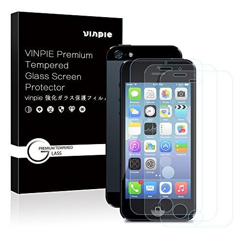 iPhone 5S/SE/5C/5 Panzerglas Schutzfolie, Vinpie [3 Stück] Displayschutzfolie für Apple iPhone 5S/SE/5C/5 Panzerfolie Displayschutz Gehärtetem Glass 9H Härtegrad, Anti-Kratzen, Einfaches Anbringen