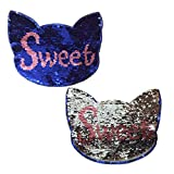 Toonol Cat Reversible Change Color Sew On Sequins Patches for Clothes Bag T-Shirt Embroidery Reversible Sequin Sweet Cat Patch