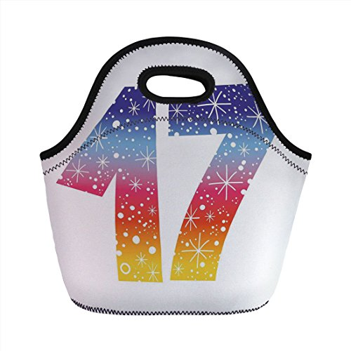 Tote Print Polka Dots - Neoprene Lunch Bag,17th Birthday Decorations,Rainbow Colored Seventeen Party with Fireworks Polka Dots Print,Multicolor,for Kids Adult Thermal Insulated Tote Bags
