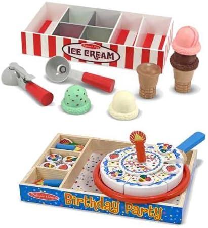 Amazon Com Melissa Doug Ice Cream Birthday Cake Deluxe Party Bundle Toys Games