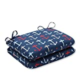 Cheap Pillow Perfect Outdoor/Indoor Anchor Allover Arbor Rounded Corners Seat Cushion (Set of 2), Navy