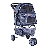 Cheap BestPet Zebra 3 Wheels Pet Dog Cat Stroller w/RainCover