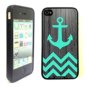 iPhone 4 4S Case ThinShell TPU Case Protective iPhone 4 4S Case Shawnex Teal Anchor On Dark Wood
