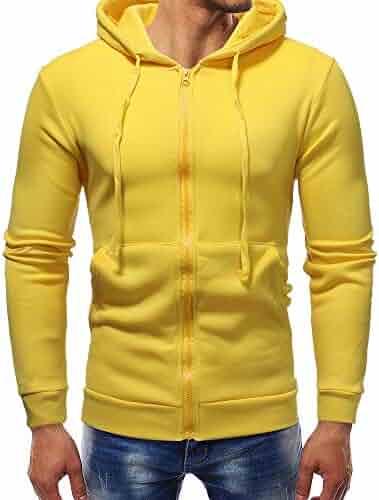 8d35bd2b04d04 Amiley mens hoodies,Men's Solid Full Zip Hoodie Drawstring Casual Hooded  Sweatshirt Outwear