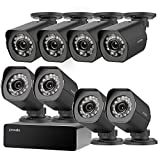 Zmodo 8 Pack 720P HD Weatherproof sPoE Security Camera w/8CH sPoE Repeater for Power & Data Transmission, Remote Monitoring, Customizable Motion Detection (NVR not Included)