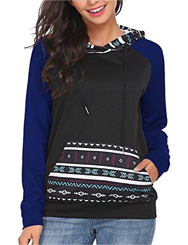 Bluetime Women Christmas Pullover Hoodie Knit Top Sweater Loose Print Hoody (M, Blue)