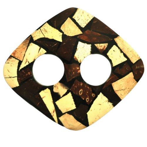 1 World Sarongs Sujetadores de Pareo con Incrustaciones de Coco Rectangle