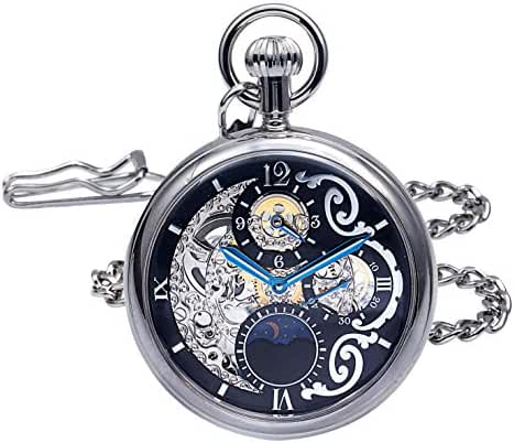 Regent Hills Brass Case Mechanical Open Face Pocket Watch with Hand Winding 9441CP-RVBK