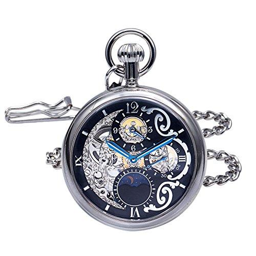 Regent Hills Brass Case Mechanical Open Face Pocket Watch with Hand Winding 9441CP-RVBK ()