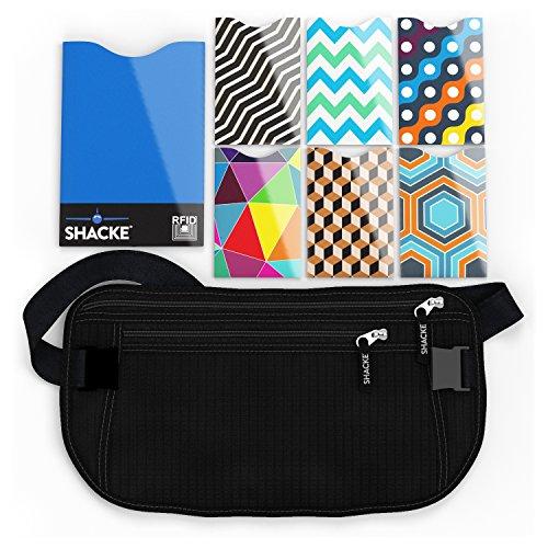 Shacke Money Belt Pouch w/ Slacker Clip Technology – RFID Passport & CC Card Sleeves Included (Black)